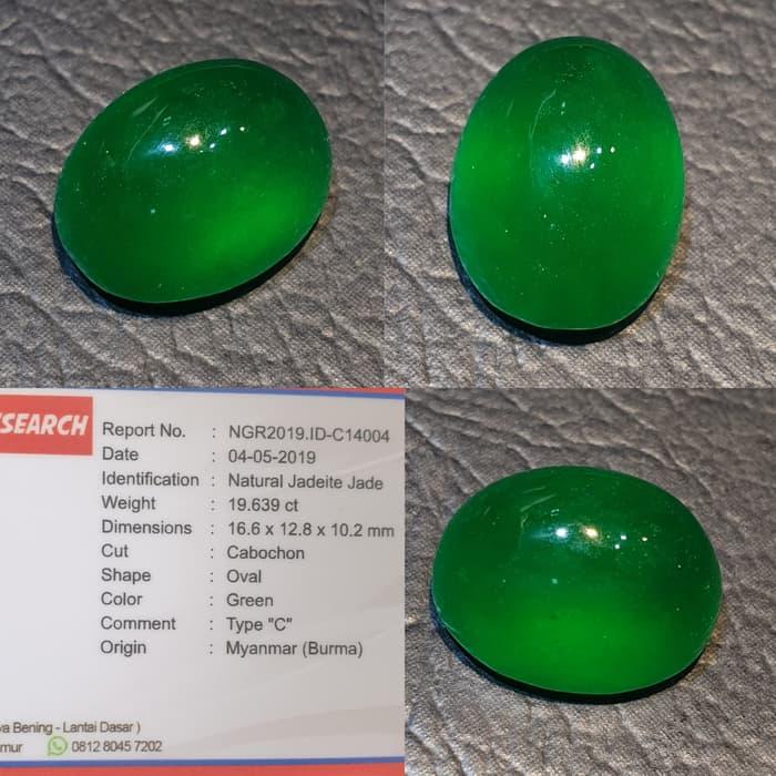 Batu Giok Burma Jadeite Jade Top Green Memo 19.639 crt